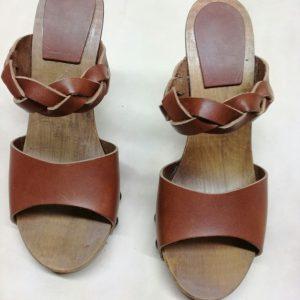 zoccoli in cuoio per donna altezza 10 cm
