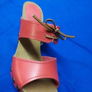 zoccoli in cuoio per donna rosso