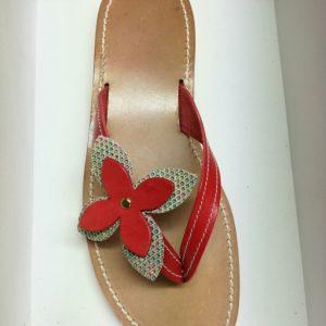 Sandali infradito artigianali in pelle e cuoio rosso