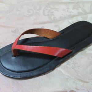 Infradito in pelle e cuoio colore rosso/nero numero 38
